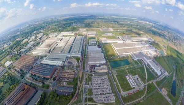 Audi Werk in Györ aus der Vogelperspektive